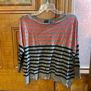in EUC Line. Gray Cashmere Blend 3/4 Sleeve Multicolor Striped Knit Top   Sz:  M